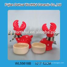 Christmas promotion ceramic candle holder in reindeer shape