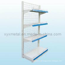 Metal Wire Mesh Singel (duplo) Prateleiras de supermercado lateral