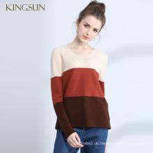 Frau Multicolor Wolle Kaschmirpullover Damen Pullover V-Ausschnitt Pullover