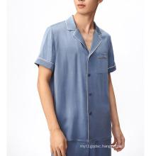 Custom summer luxury silk short set two piece short sleeved satin silk short pajamas set men