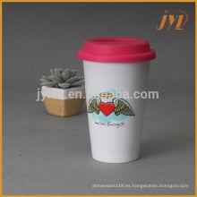 Productos promocionales de cerámica 280cc con tapa de silicona