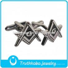 L-C0022 Epoxy preto aço inoxidável material maçônico logotipo abotoaduras para homens