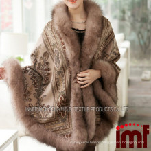 Cashmere and Fox Fur Trim Cape Korean Fashion online Shop Poncho