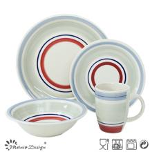 20PCS Céramique Dîner Set Peint à la main Cercles de Couleur Design