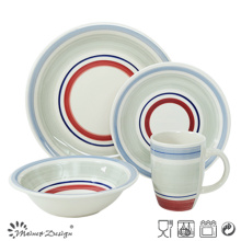 20PCS Ceramic Dinner Set Hand Painted Color Circles Design