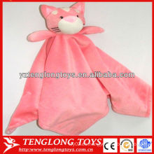 Rosa precioso oso cabeza de juguete suave dos lados bebé manta