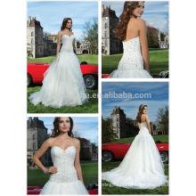 Wonderful Ruffled Organza Wedding Dress 2014 Sweetheart Long Tail Beaded Bodice Garden A-Line Bridal Gown Custom Made NB0648