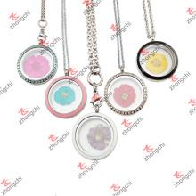 Edelstahl schwimmende Blume Glas Lockets Halskette für Weihnachtsgeschenke (FGL50822)