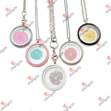Stainless Steel Floating Flower Glass Lockets Necklace for Christmas Gifts (FGL50822)