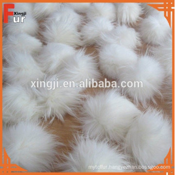 Natural Raccoon Fur Pom Poms White