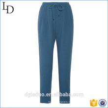 Pantalones de pijama estampados personalizados Pantalones lounge lisos con cinturilla con cordón