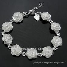 Bijoux en argent 925 bijoux chauds Bracelet en fleurs mignon pour filles BSS-024