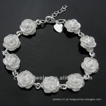 Venda quente 925 pulseira de jóias de prata bonito flor para meninas BSS-024