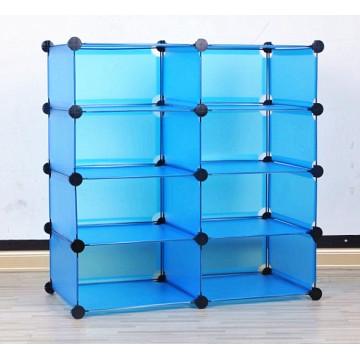 Organisateur en plastique de stockage d'affichage bleu, produits de stockage à la maison