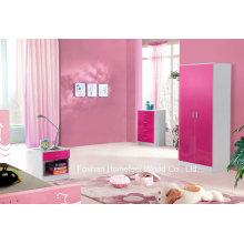 3 Stück Pink High Gloss Kinder Schlafzimmer Kleiderschrank Sets (HH02PW)
