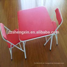 Secretária e cadeiras para crianças de jardim de infância Conjuntos de mesa dobrável de moldura de metal