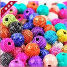 Yiwu Factory price Jewelry design crystal rhinestones paved clay beads, colorful high quality shamballa beads 2013 hot HB-1021