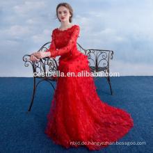 elegante lange Hülsen-rote Hochzeits-Kleider Abend-Kleid-Abend-Abnutzungs-Partei-Abnutzung