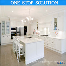 L Shaped White Color with Kitchen Cabinet