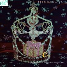Tiara grande y tiaras Tiaras al por mayor del Rhinestone de la venta al por mayor tiara congelada del elsa