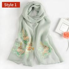 En gros motif floral broderie femmes écharpe, haute qualité mélange soie foulard musulman en laine de hijab