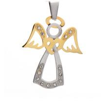 Pendentif de charme d'ange de conception antique, pendentif de bijoux en gros d'or et d'argent