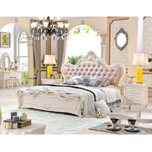 French Luxury Baroque Style Canopy Bedroom Set/European Wooden Carving Kind Size Bed (6019)