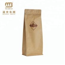 Haute Qualité Prix Pas Cher Personnalisé Emballage Café Zipper Conception Côté Gousset Bloc Fond Brun Kraft Papier Sacs