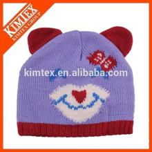 wholesale cheap cute custom cat ear knitted beanie hat