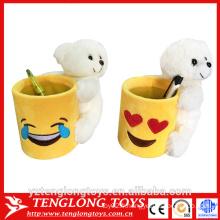 Porte-gobelets emoji à vente chaude, porte-stylo emoji en peluche avec jouet animal