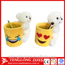 hot selling emoji cup holder, plush emoji pen holder with animal toy