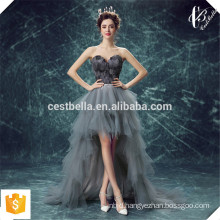 Latest Design Organza Sweetheart Lace Front Short Back Long with Fur Grey Sexy Evening Dress Evening Party Gown