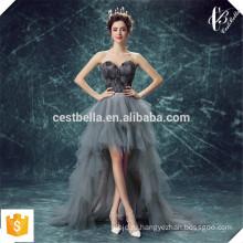 Последние дизайн милая органзы кружева спереди короткие сзади длинные с мехом серый сексуальное вечернее платье вечернее платье