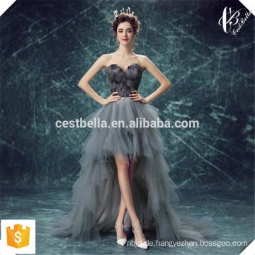 Späteste Entwurfs-Organza-Schatz-Spitze-vordere kurze rückseitige lange mit Pelz-grauem reizendem Abend-Kleid-Abend-Party-Kleid