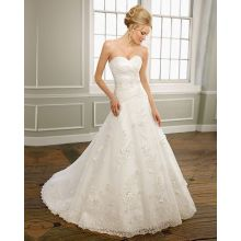 A-dòng Sweetheart quây satin organza ren Chapel đào tạo beading xáo trộn Wedding Dress
