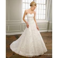 A-line Sweetheart Strapless Satin Organza Lace Chapel Train Beading Ruffled Wedding Dress