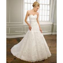 Una línea de novia sin tirantes de satén de organza de encaje capilla tren rebordear vestido de novia con volantes