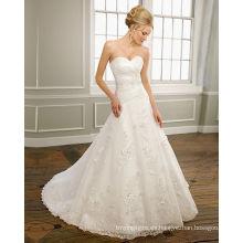 Una línea de cariño sin tirantes satén organza encaje capilla tren rebordear vestido de novia con volantes