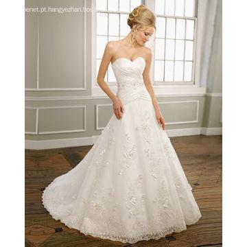 Vestido de noiva com babados em forma de linha Sweetheart, sem alças, de cetim, organza, rendado, capela, trem, beading, noiva