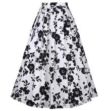 Belle Poque vintage retro cintura elástica algodón una línea de columpio falda larga BP000324-1