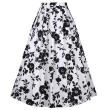 Belle Poque Vintage Retro Elastic Waist Cotton A-Line Swing Long Skirt BP000324-1