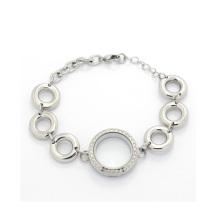 Nova moda adorável grande cadeia de grânulos de cristal flutuante medalhão pulseira atacado