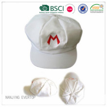 White 2D Embroidery Octagonal Cap Wholesale
