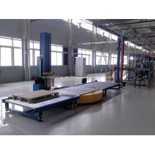 En línea línea de estiramiento automático de la máquina de envolver la placa giratoria