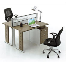 double faddish office glass partition with drawer for 2 people