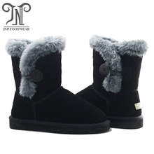Fast Delivery for Toddler Sheepskin Boots Little Girls Black Boots with Fur export to Haiti Exporter