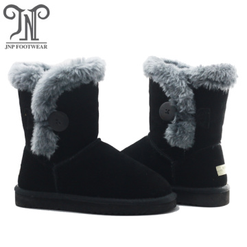 Little Girls Black Boots with Fur
