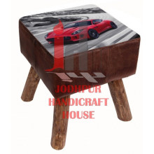 Printed Car Leather Stool