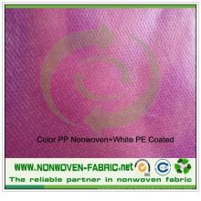 Color PP Spunbond tela no tejida + película blanca del PE
