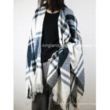 Акриловая мода леди зима теплый синий и белый проверено сплетенный пончо